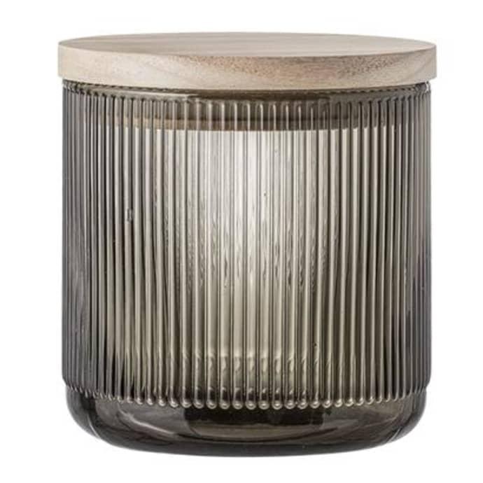 Jar W Lid Grey Glass$37.99