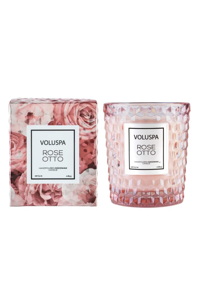 VOLUSPA Roses Classic Textured Glass Candle $24.00