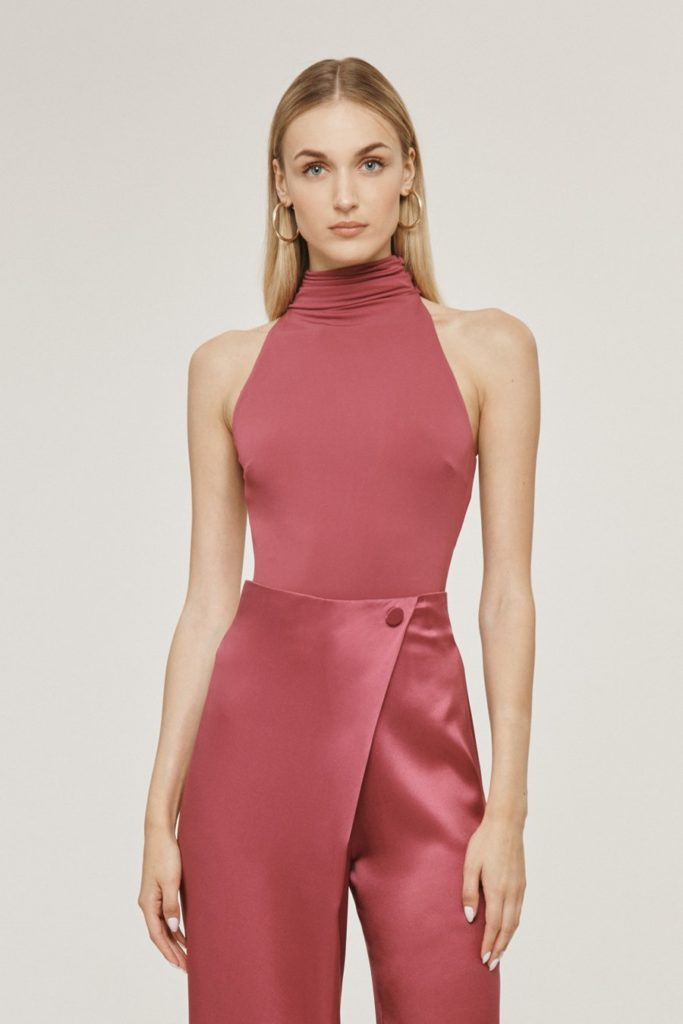 Rose Mauve Matte Jersey Open Back Bodysuit $313