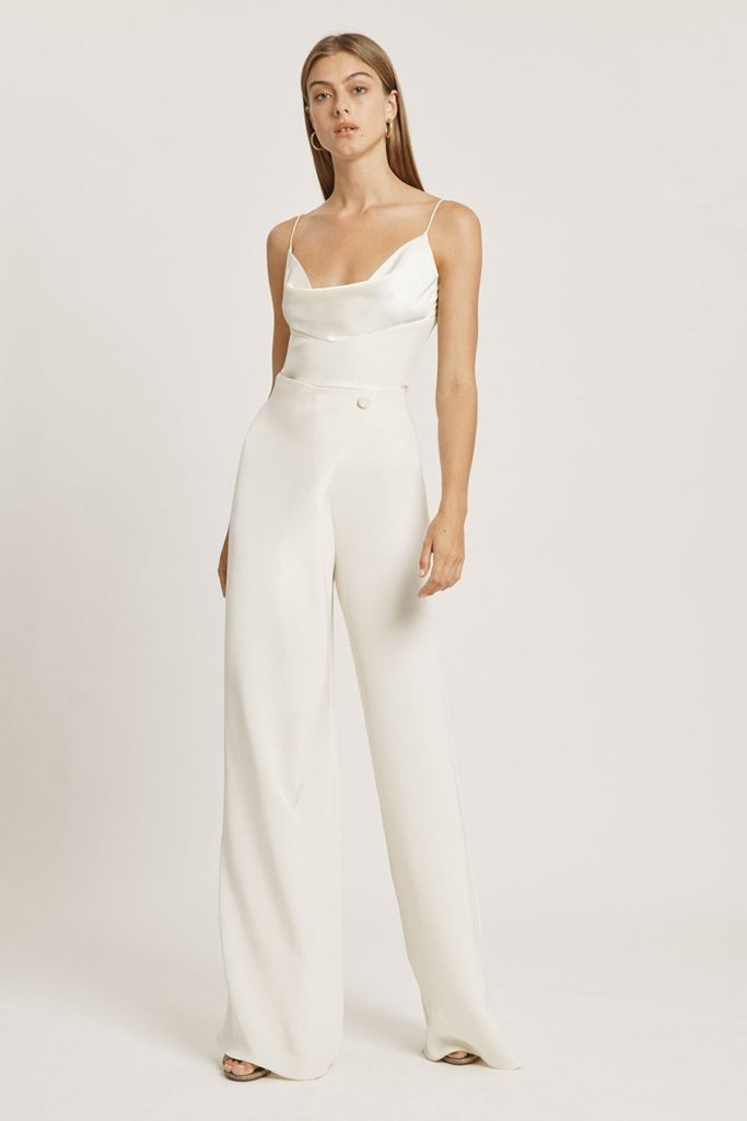 Ivory Silk Charmeuse Draped Wide Leg Pant $448