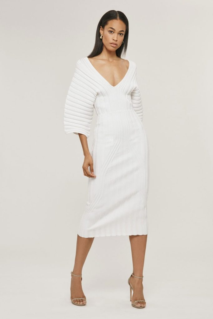 White Rib Knit Dress $583.00