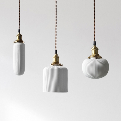 Tube/Bucket/Globe Hanging Lamp with Ribbed Ceramic Shade 1 Light Modern Pendant Lighting in Warm Brass $58.65