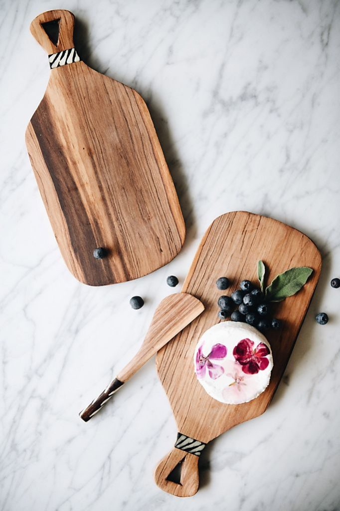 Connected Goods Olive Wood Cheese Board and Knife $59.00