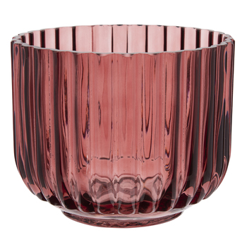 Red Round Ribbed Glass Vase - Small $7.99