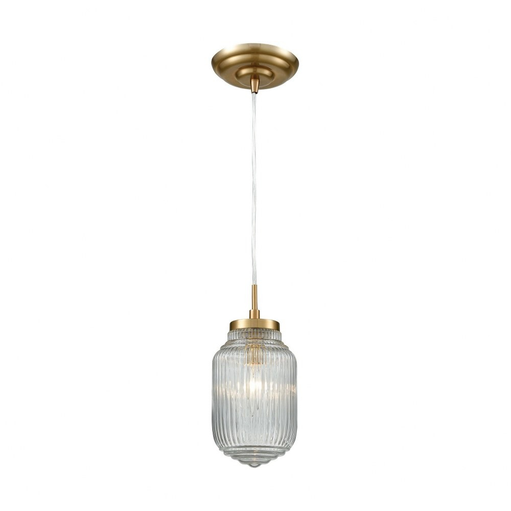Satin Brass 1-Light Mini Pendant With Clear Ribbed Glass -Art Deco Style Pendant Light - 5X10-Inches $45.83