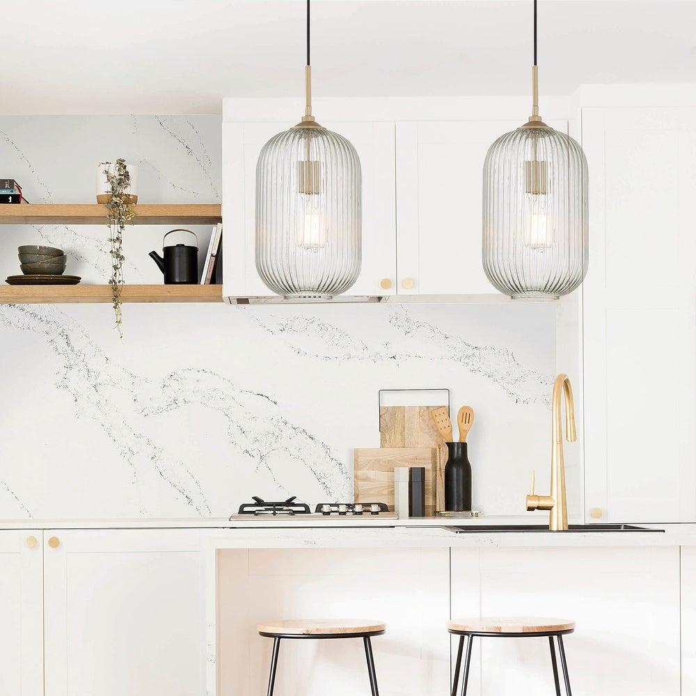 Vanity Art Modern Farmhouses 1 light Ceiling Ripple Glass Pendant Light Fixture Chandelier Light For Kitchen Dining Room $94.99