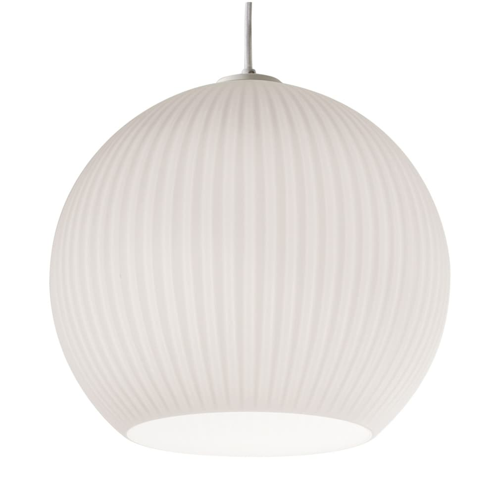 Cleo 1-light White Pendant, Frosted Ribbed White Glass Shade $151.99