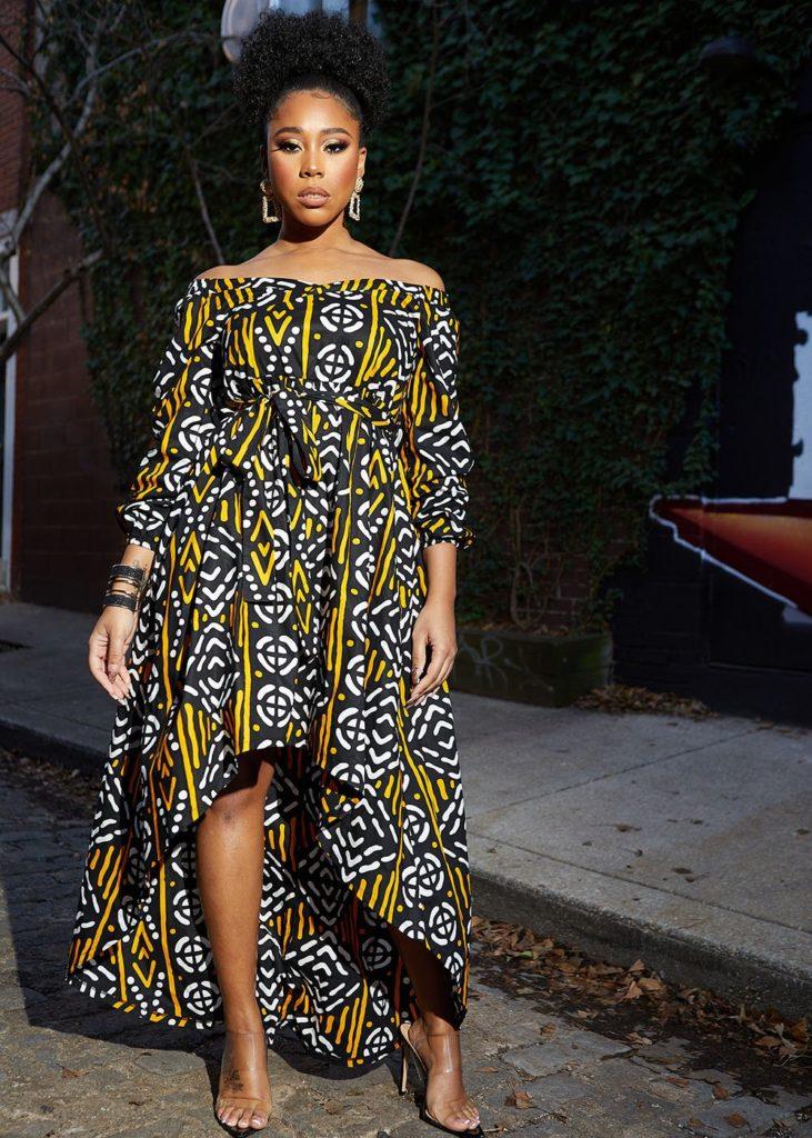AFUA AFRICAN PRINT HIGH-LOW OFF-SHOULDER MAXI DRESS $99.99