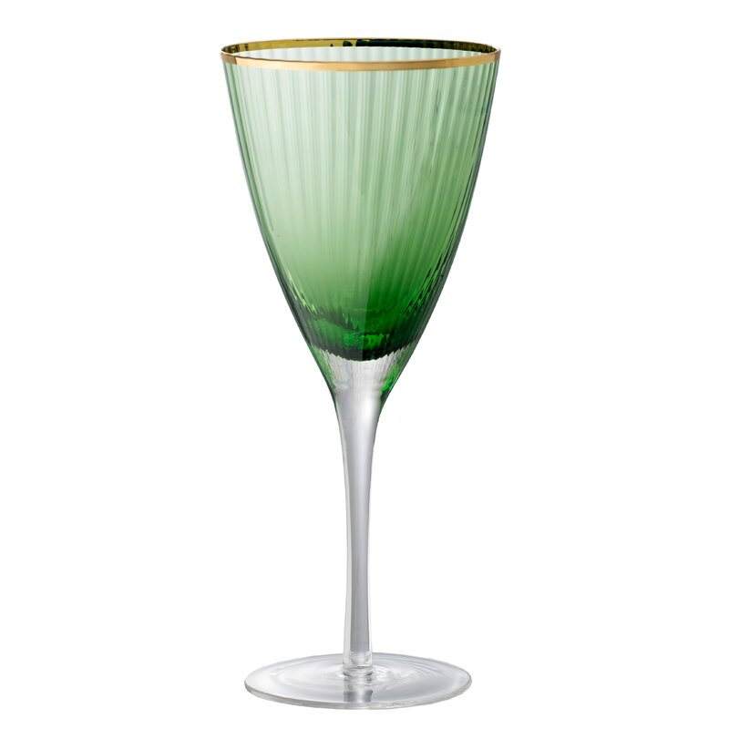 Antoinette Wine Glass - Green, Gold $34.99