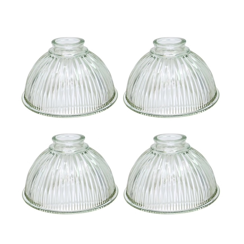 "Aspen Creative Dome Shaped Clear Ribbed Replacement Glass Shade, 2 1/4"" Fitter Size, 3 5/8"" high x 7 5/8"" diameter (Set of 4) $69.99"