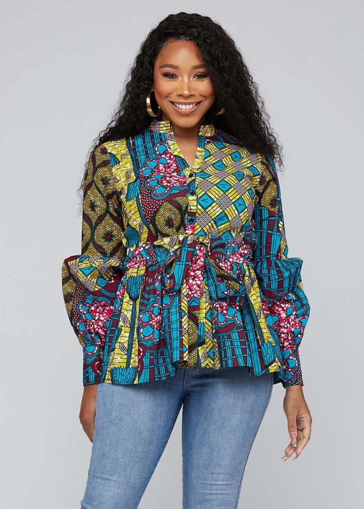 CHIAMAKA AFRICAN PRINT LONG SLEEVE PEPLUM BLOUSE WITH SASH $54.99