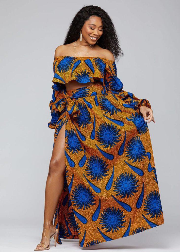 CYRAH AFRICAN PRINT MAXI SKIRT WITH SASH $69.99