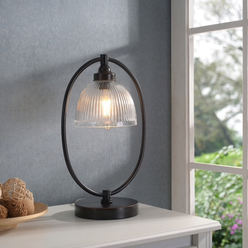 "Diplomat Oil Rubbed Bronze and Glass Banker's Style Lamp - 11"" x 17"" $93.49"