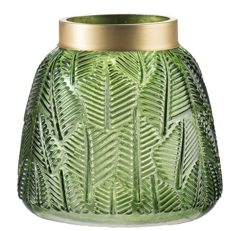 "Friend 6"" Fern Leaf Glass Table Vase $59.99"