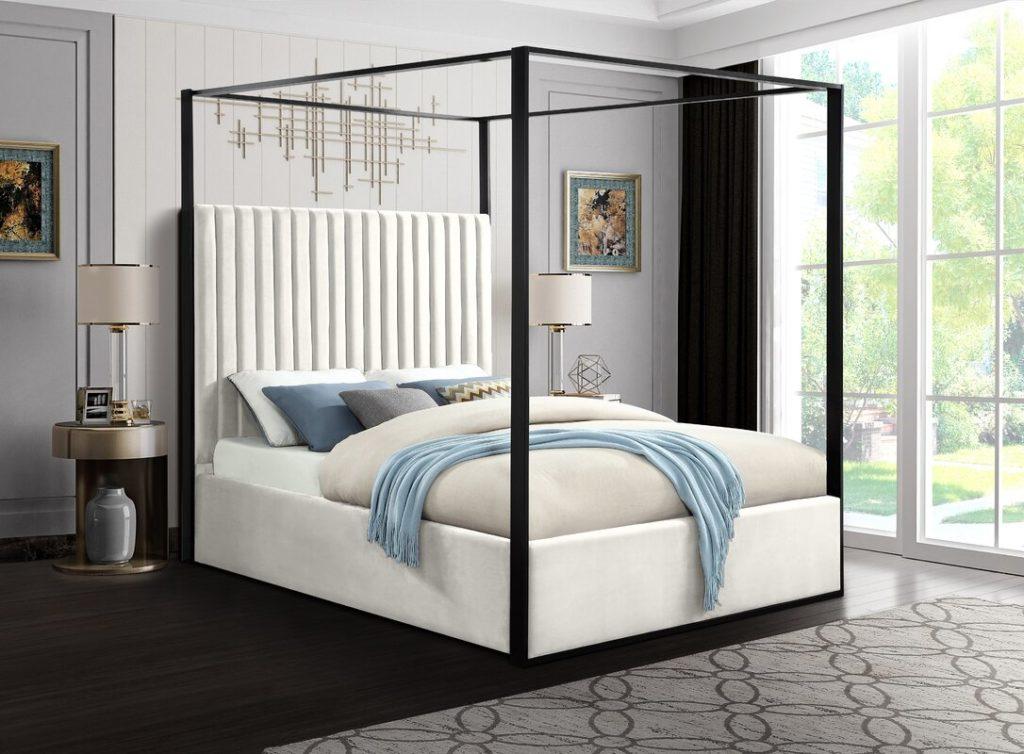Gianluca Cream Velvet Upholstered Canopy Bed $1,029.99