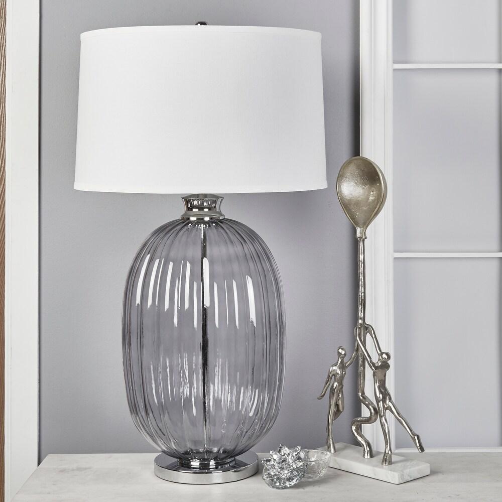 """Glass 39"""" Ribbed Table Lamp, Smoke $214.19"""