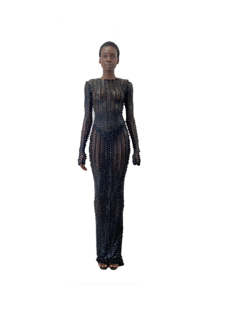 Black Fishnet Floor Length Dress $198.00