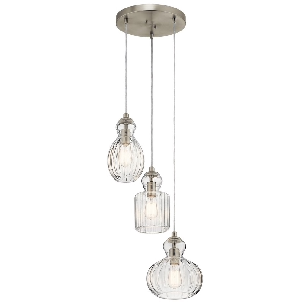 Kichler Lighting Riviera Collection 3-light Brushed Nickel Pendant $384.99