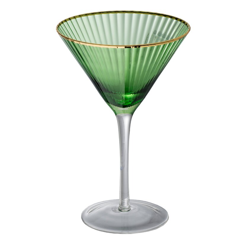 Lynette Martini Glass - Green, Gold $45.99