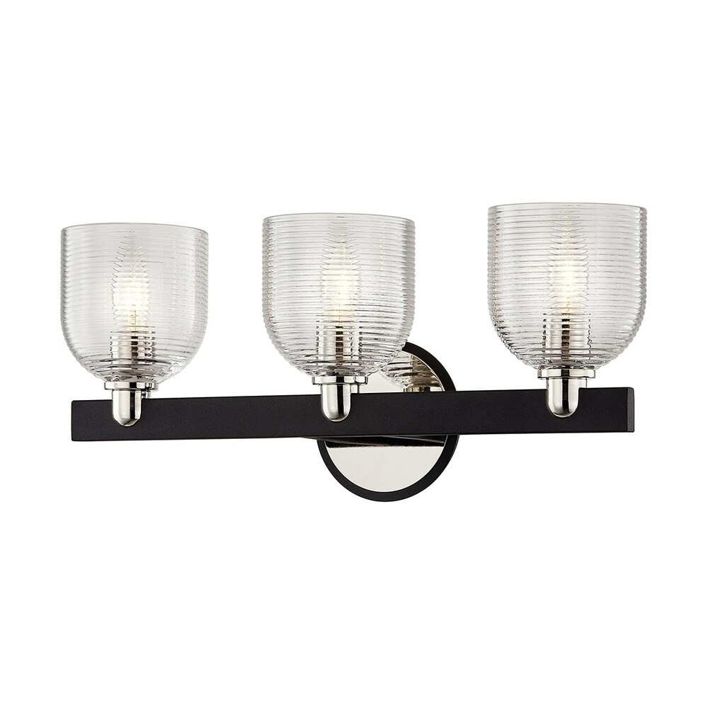 Munich Carbide Black & Polished Nickel Vanity with Clear Ribbed Glass - 1 light $104.99