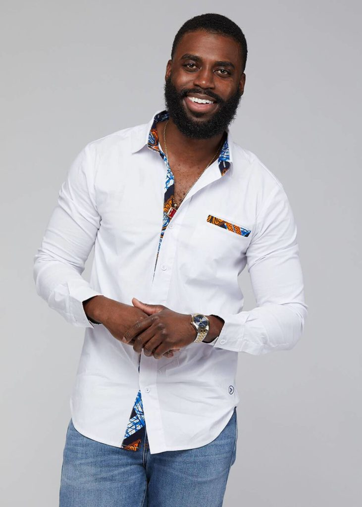 OBASI AFRICAN PRINT LONG SLEEVE BUTTON-UP $59.99