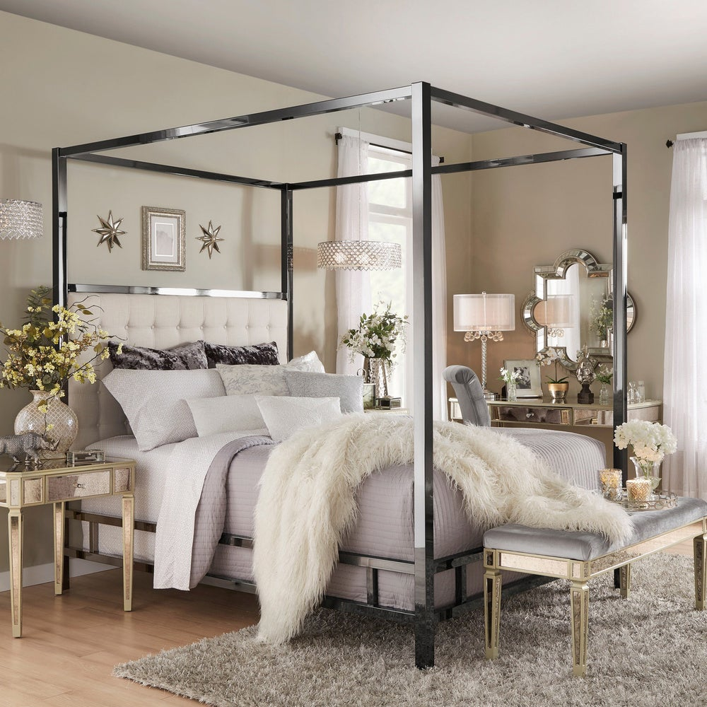 Solivita Black Nickel Metal Queen-size Canopy Poster Bed by iNSPIRE Q Bold - Off White $837.67