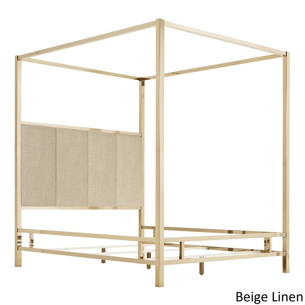 Solivita Champagne Gold Metal Canopy Bed with Vertical Panel Headboard by iNSPIRE Q Bold - Beige - Queen $838.94