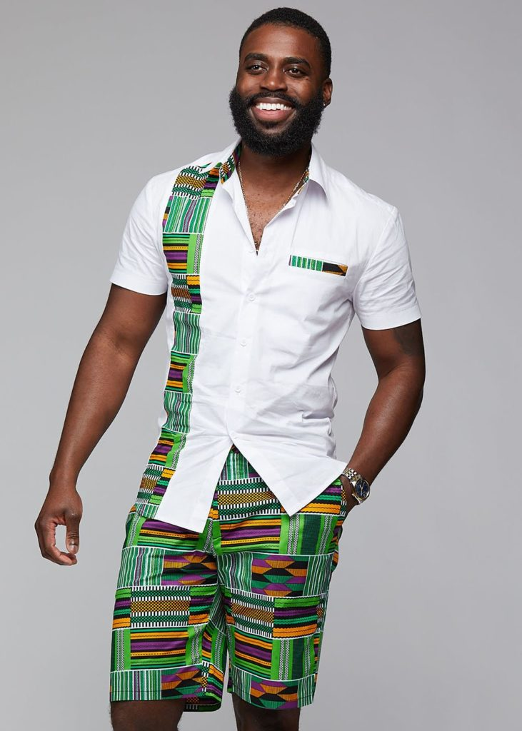 TUMELO AFRICAN PRINT APPLIQUÉ BUTTON-UP $49.99