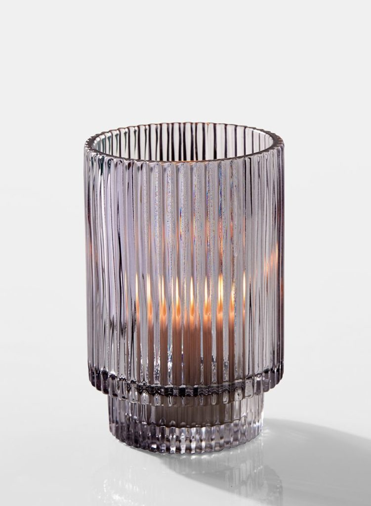 Smoke Ribbed Glass Votive Holder $23.99