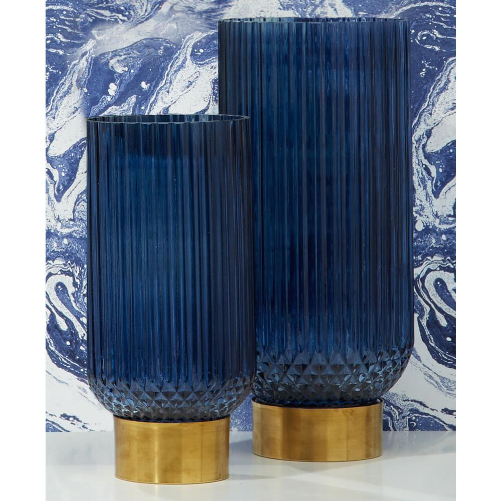 Sullivan Blue Ribbed Vases with Brass/Glass Brass Finish Base(Set of 2) $119.00