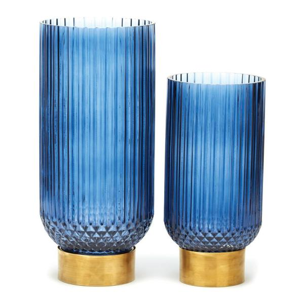 Sullivan Set of Two Blue Ribbed Vases with Brass Finish Base - Brass/Glass $119.00