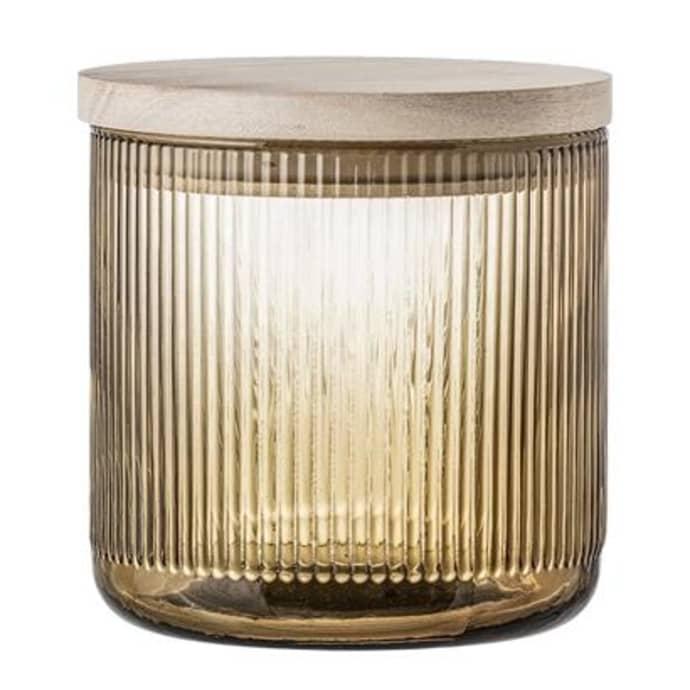 Jar W Lid Brown Glass $37.99