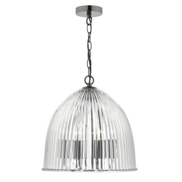 Mini Three Light Pendant Ribbed Glass Cloche Ceiling Light$249.99