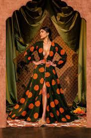 floor-sweeping print dress  $325.00
