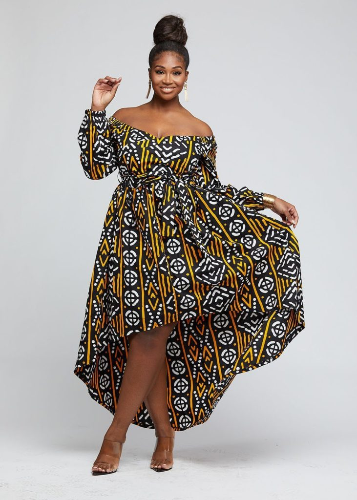AFUA AFRICAN PRINT HIGH-LOW OFF-SHOULDER MAXI DRESS $99.99
