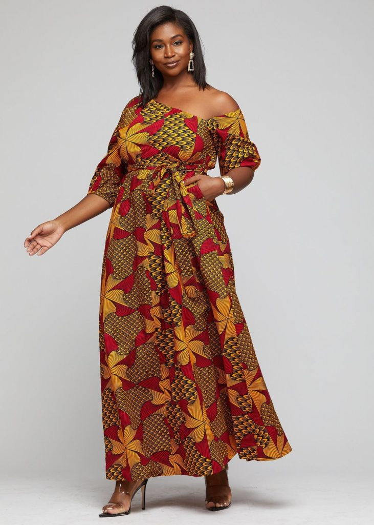 INYONI AFRICAN PRINT ONE SHOULDER DRESS ANKARA MAXI DRESS  $79.99