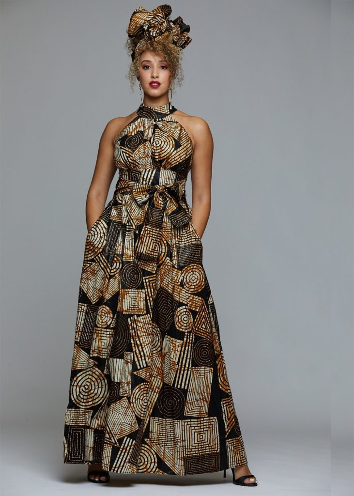 RONKE AFRICAN PRINT HALTER MAXI DRESS  $99.99