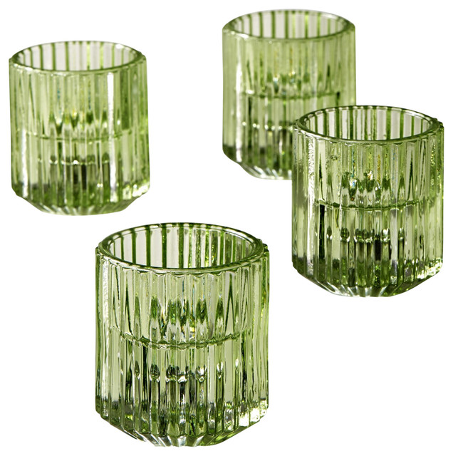 Green Ribbed Glass Votive Holders, Set of 4 $35.99