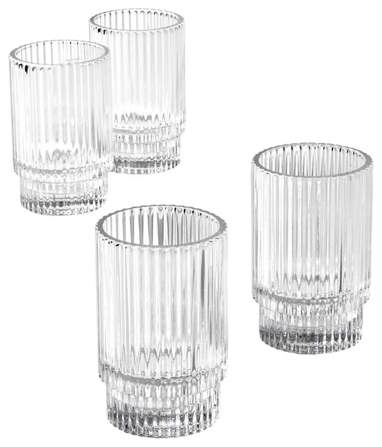 Short Clear Ribbed Glass Votive Holder, Set of 4 $35.99