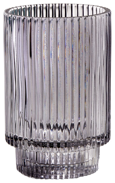 Smoke Ribbed Glass Votive Holder $23.99