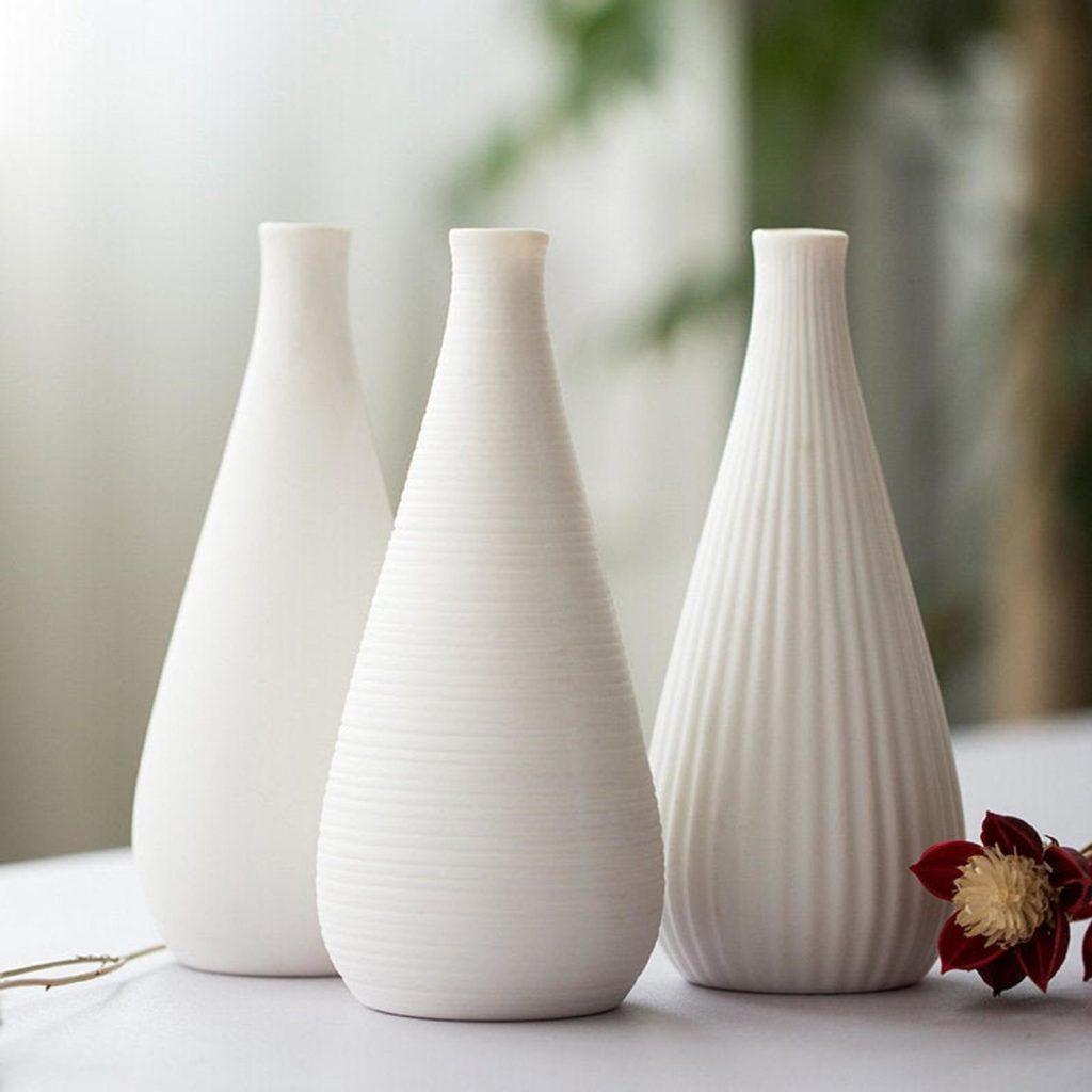 Minimal Bisque white Raku Handmade Ceramic Vase, White Matte minimalist flower pottery $44.00