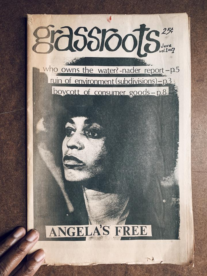 "Vintage ""Grassroots"" Newspaper // Angela Davis Cover Issue (June 1967) $150.00"
