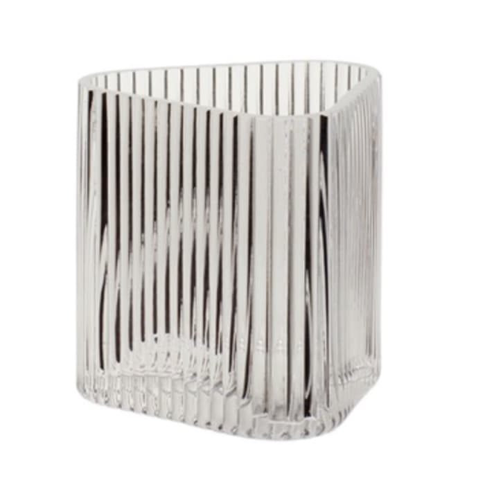 Short Triangular Ribbed Clear Glass Flower Candle Vase $18.49