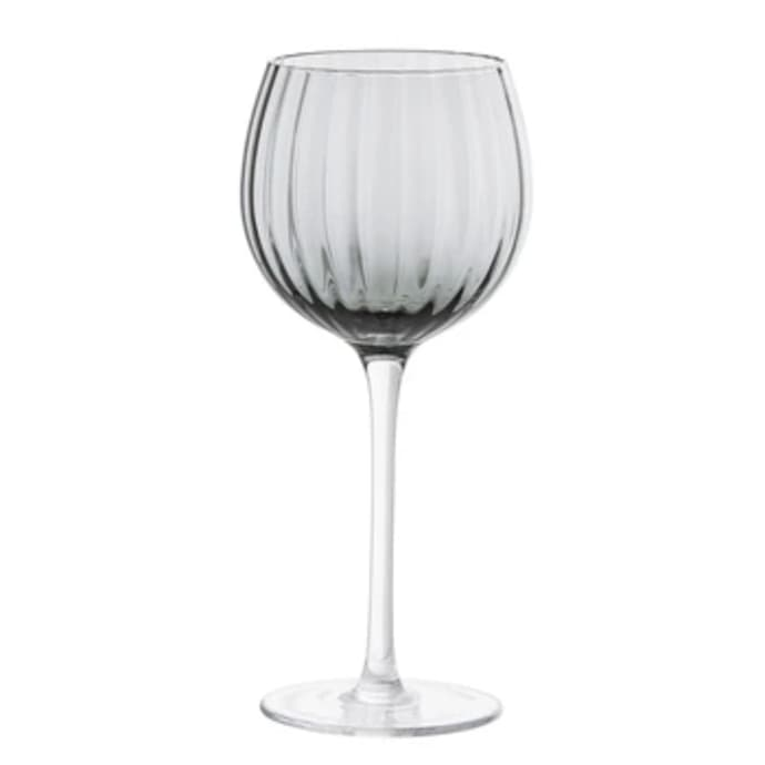 Grey Ribbed Wine Glass - Set of 2 $24.49