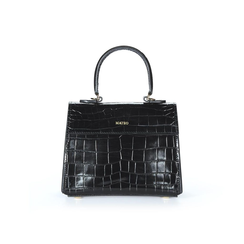 Black Croc Elizabeth Bag by MATEO NY $395.00