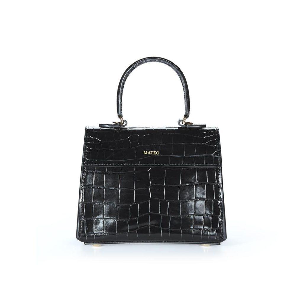 Black Croc Elizabeth Bag byMATEO NY $395.00