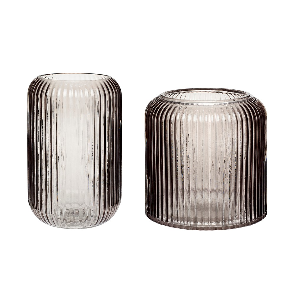 Short Smoked Ribbed Glass Flower or Candle Vase $30.49