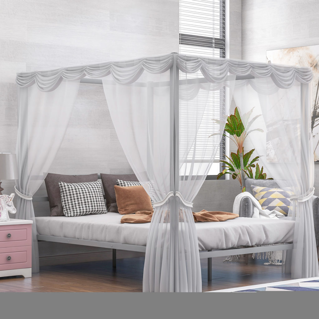 Metal Framed Canopy Platform Bed with Built-in Headboard,No Box Spring Needed, Classic Design, Queen , Sliver $248.33