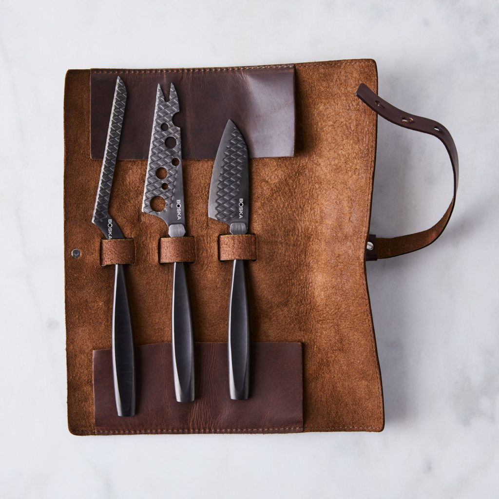 Monaco Black Cheese Knife set with Leather Roll $90