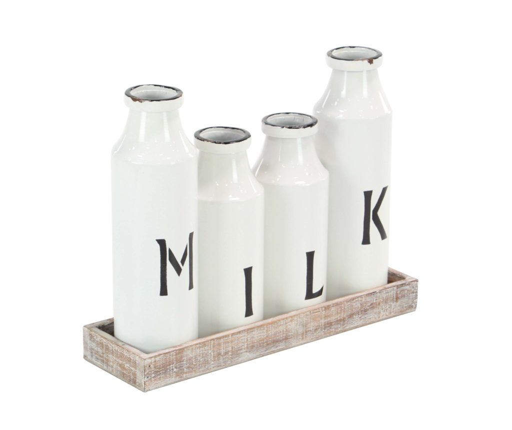 Decmode Farmhouse Metal Milk Bottles On Wooden Tray, White $49.16